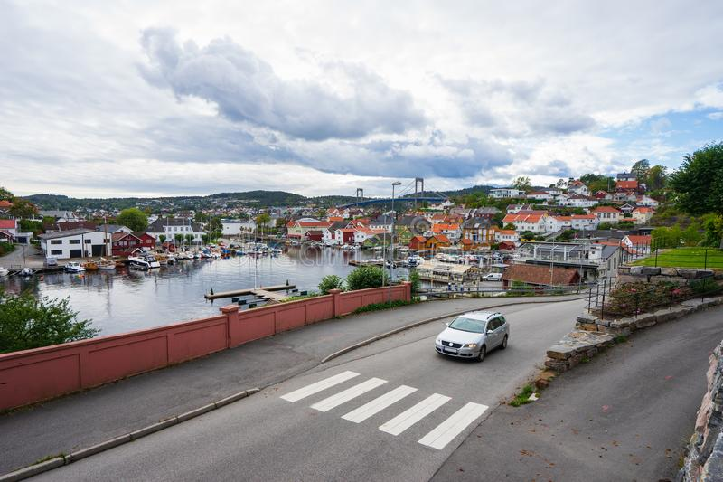 Local sea port in Norway. Porsgrunn, Telemark, Norway- SEP 18, 2017: Local sea port for travel and recreation in Brevik village, Porsgrunn, Norway stock images