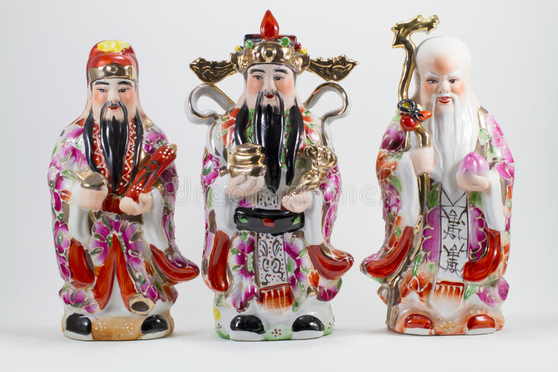 Porslin av Hock Lok Siew eller Fu Lu Shou, tre gudar av kines, royaltyfria foton