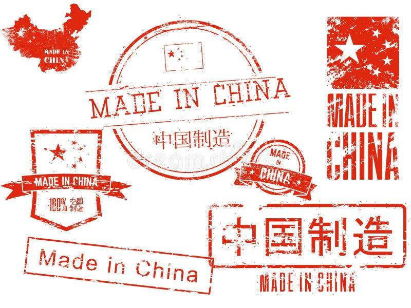 porslin gjorda stämplar stock illustrationer