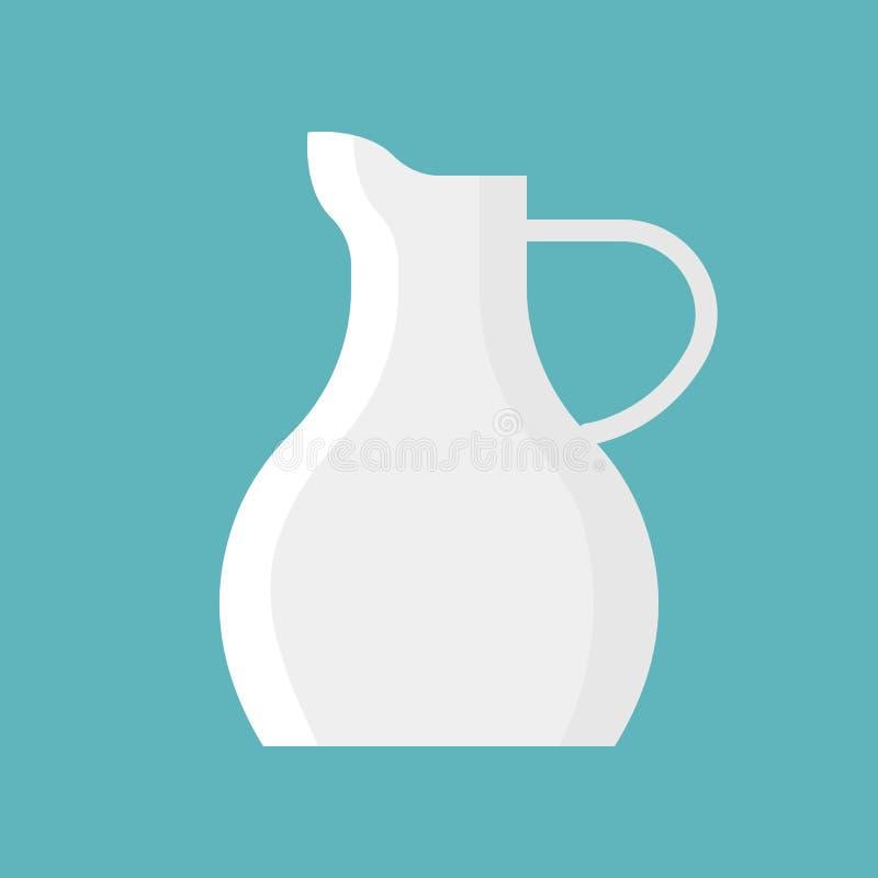 Porslin mjölkar tillbringarevektorsymbolen, lägenhetdesign stock illustrationer