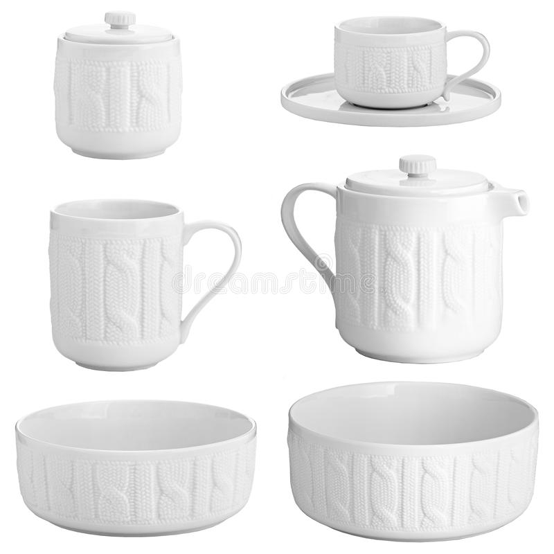 Porslin rånar för te och plattor arkivfoto