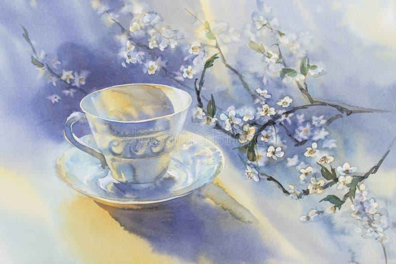 Porslinkopp och blommande körsbärsröd vattenfärg royaltyfri illustrationer