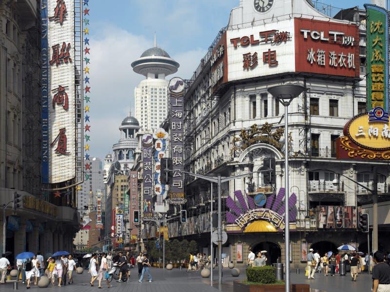 porslinnanjing väg shanghai royaltyfria bilder