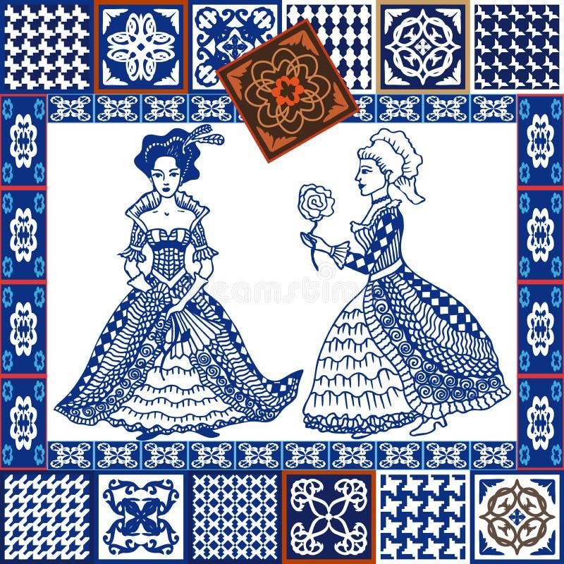 Porslinuppsättning Blå collage för keramiska tegelplattor Hand-drog damer i bollklänningar vektor illustrationer