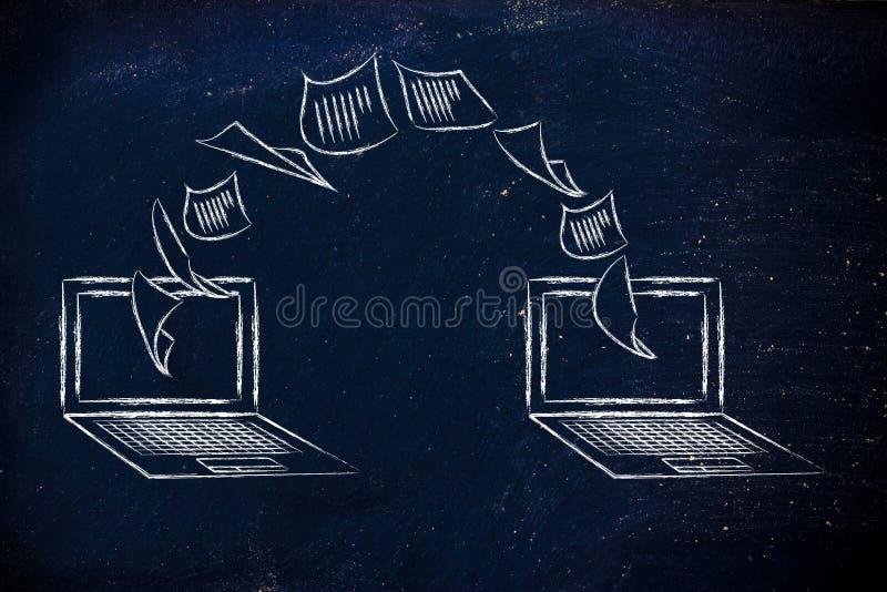 Portáteis com os originais que voam de uma tela à outro imagem de stock
