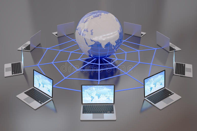 Portáteis conectados ao World Wide Web do Internet ilustração royalty free