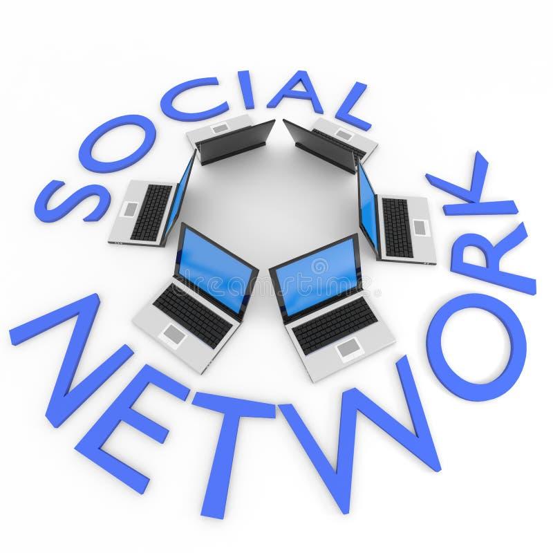 Portáteis no círculo. Negócio ou rede social. ilustração stock