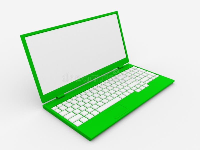 portátil 3D com espaço para sua mensagem ilustração do vetor