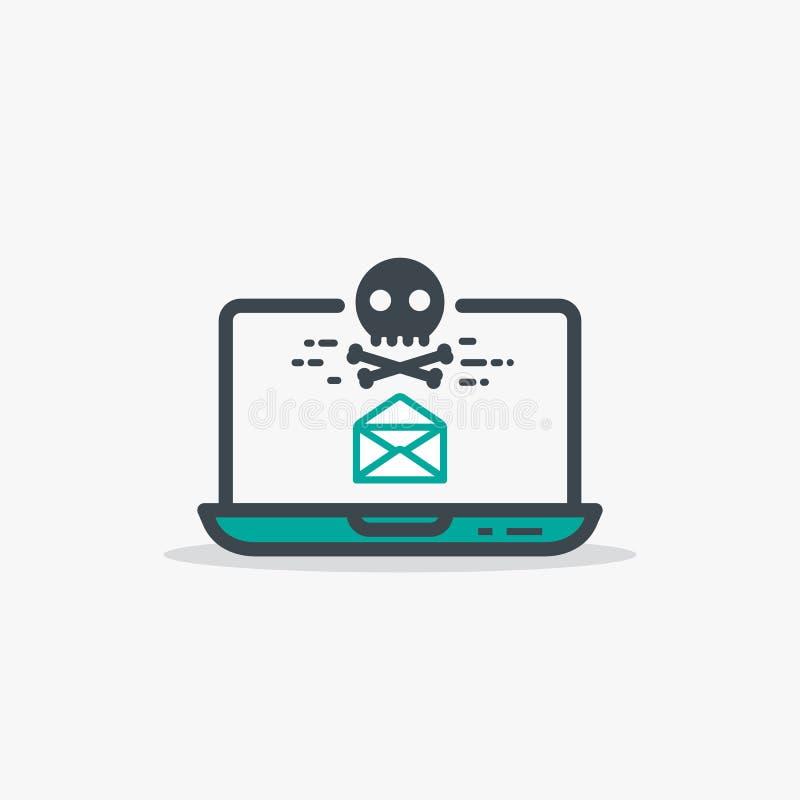 Portátil aberto do email e do malware ilustração royalty free