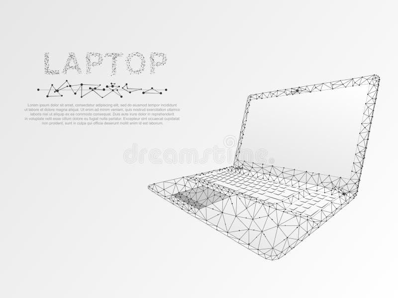 Portátil Baixo caderno poli Wireframe branco da conexão Vetor digital do monitor do teclado de computador dos dispositivos do Int ilustração royalty free