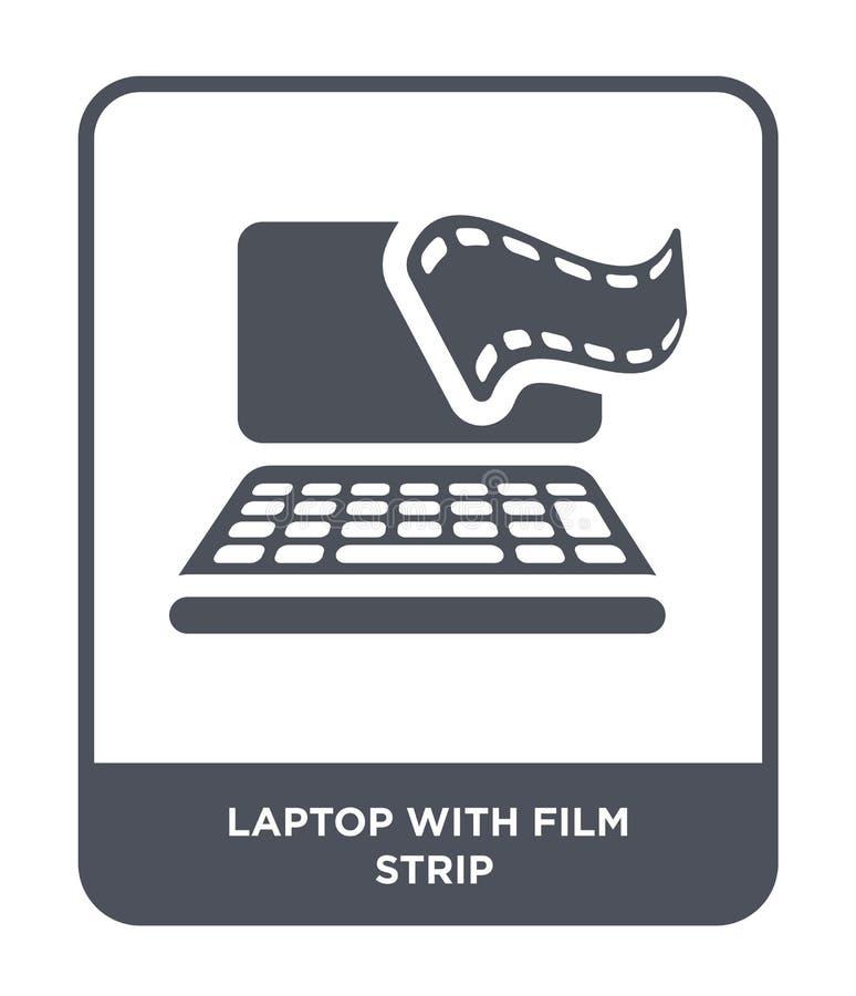 portátil com ícone da tira do filme no estilo na moda do projeto portátil com o ícone da tira do filme isolado no fundo branco po ilustração do vetor