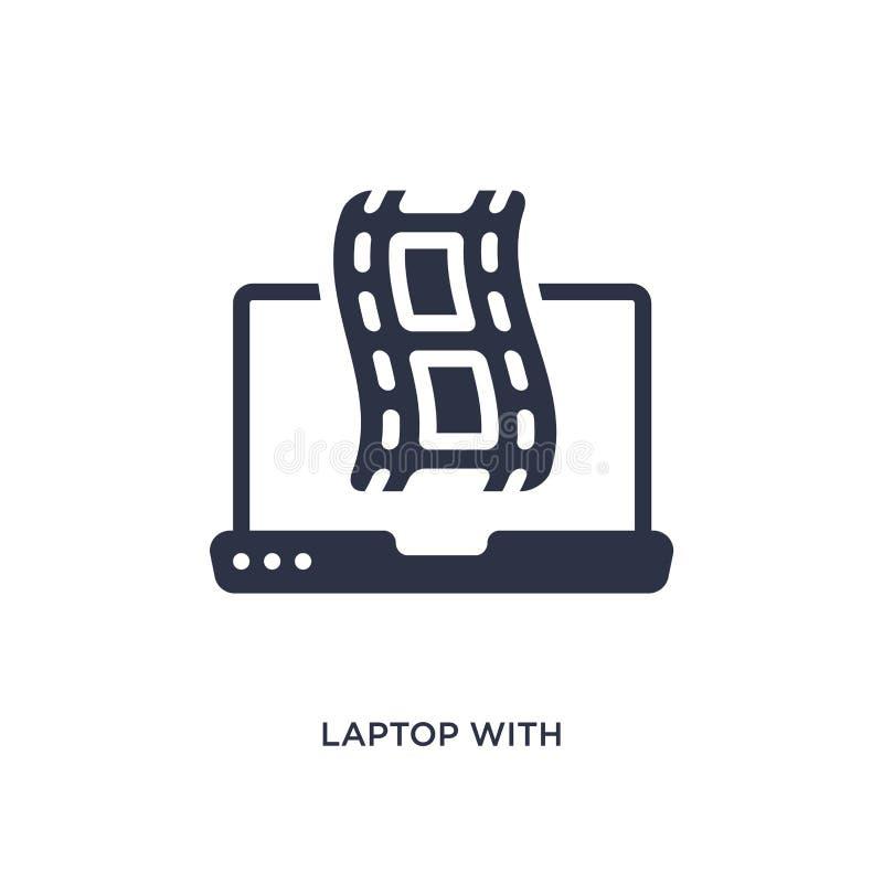 portátil com ícone da tira do filme no fundo branco Ilustração simples do elemento do conceito do cinema ilustração do vetor