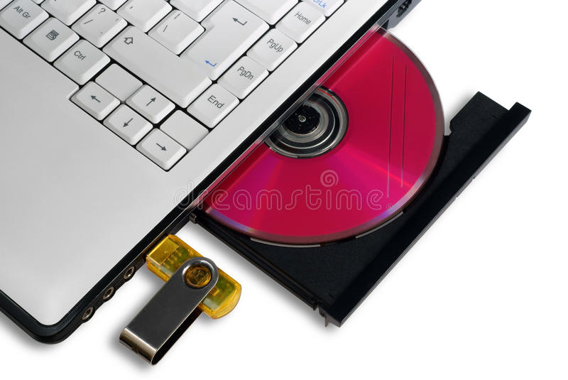 Portátil com a bandeja aberta do disco compacto imagens de stock royalty free