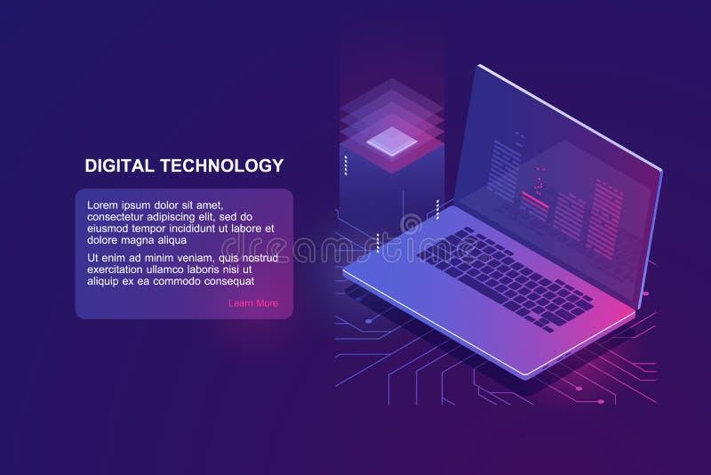 Portátil com código do programa na tela, ícone isométrico da programação, educação em linha da programação de software, digital imagens de stock royalty free