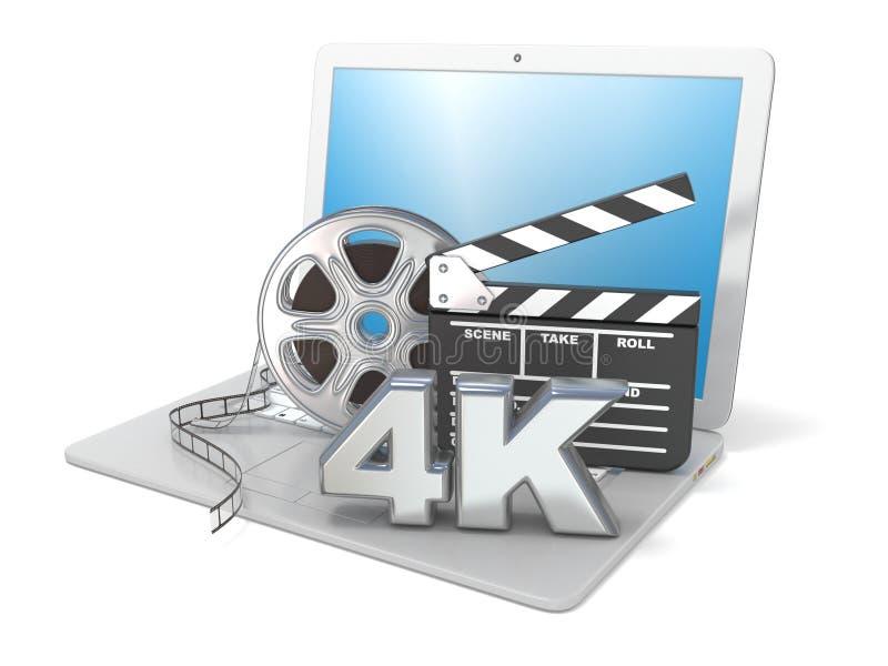 Portátil com carretéis de filme, placa de válvula do filme e ícone do vídeo 4K 3d rendem ilustração royalty free