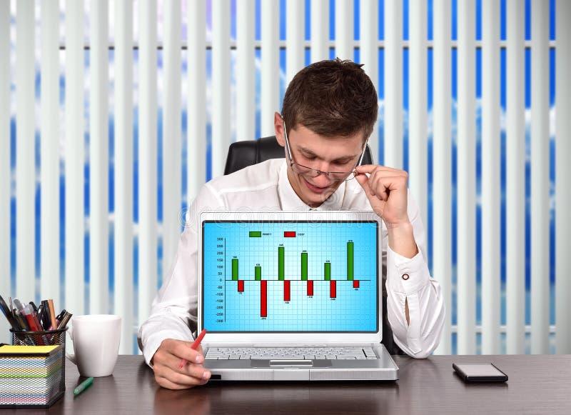 Portátil com custo e carta do lucro foto de stock