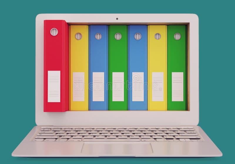 Portátil com dobradores do escritório ilustração stock