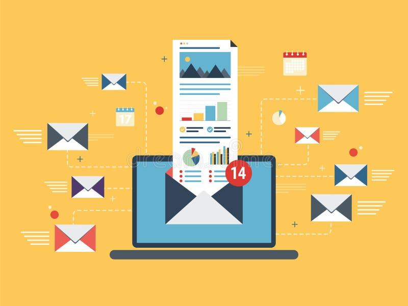 Portátil com envelope e email aberto na tela ilustração do vetor