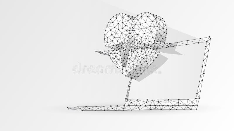 Portátil com linha do pulso do coração na tela branca Tratamento poligonal do Internet, conceito do cuidado do computador Sum?rio ilustração royalty free