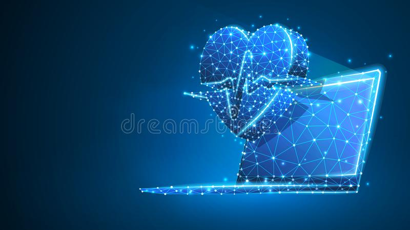 Portátil com linha do pulso do coração na tela do caderno Tratamento poligonal do Internet, conceito do cuidado do computador Sum ilustração stock