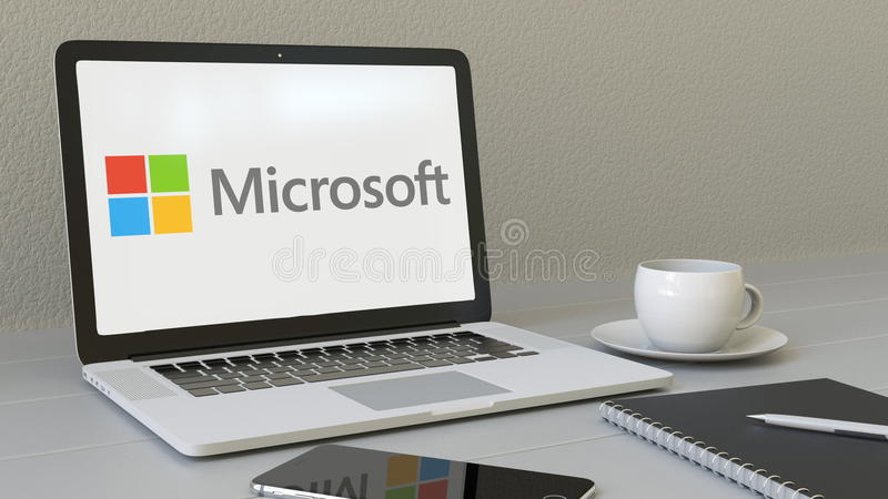 Portátil com logotipo de Microsoft na tela Rendição conceptual do editorial 3D do local de trabalho moderno ilustração royalty free