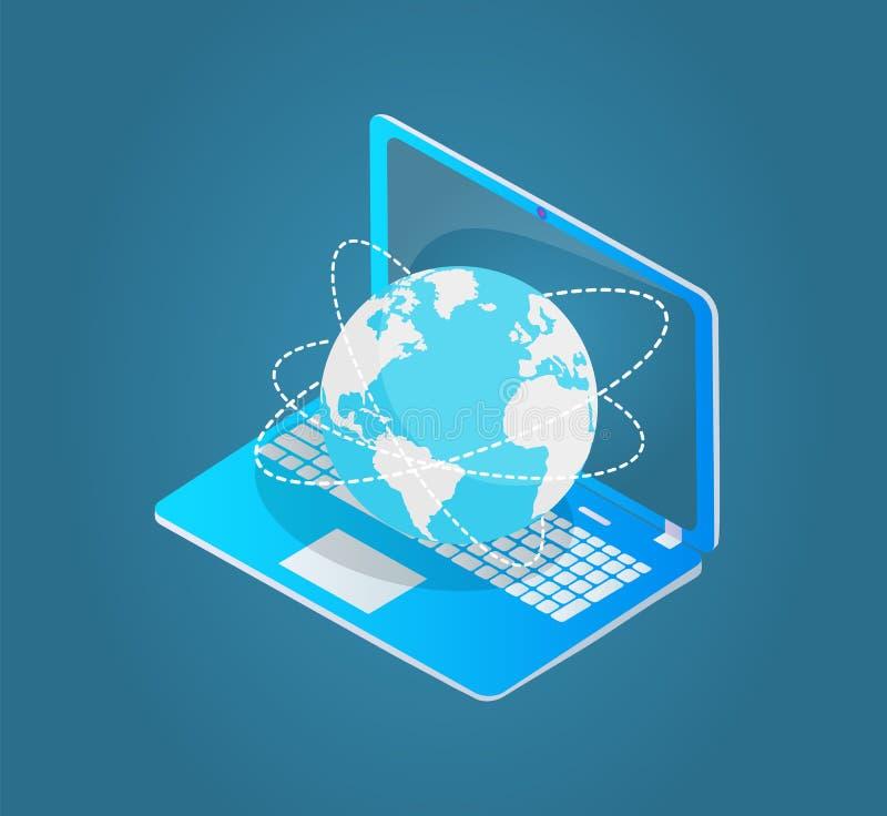 Portátil com modelo Vetora do emblema 3d do world wide web ilustração stock