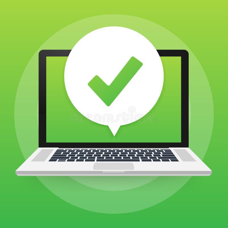 Portátil com notificação do sinal ou do tiquetaque na bolha Escolha aprovada Aceite ou aprove o sinal Ilustração do vetor ilustração do vetor
