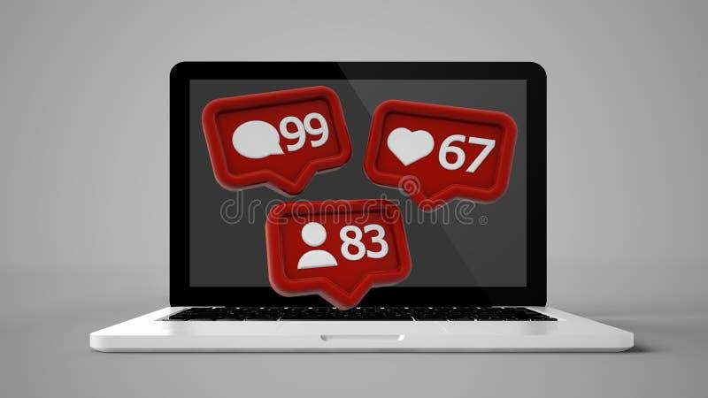 portátil com notificações sociais dos meios ilustração do vetor