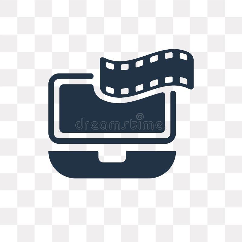 Portátil com o ícone do vetor da tira do filme isolado no backg transparente ilustração do vetor