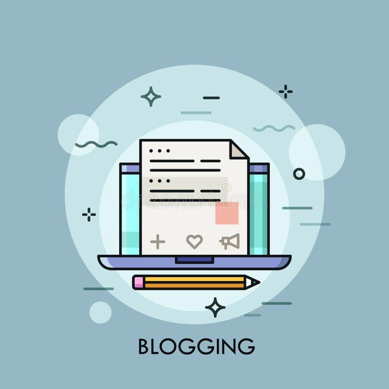 Portátil com o blogue do Internet na tela, criação satisfeita do Web site ilustração royalty free