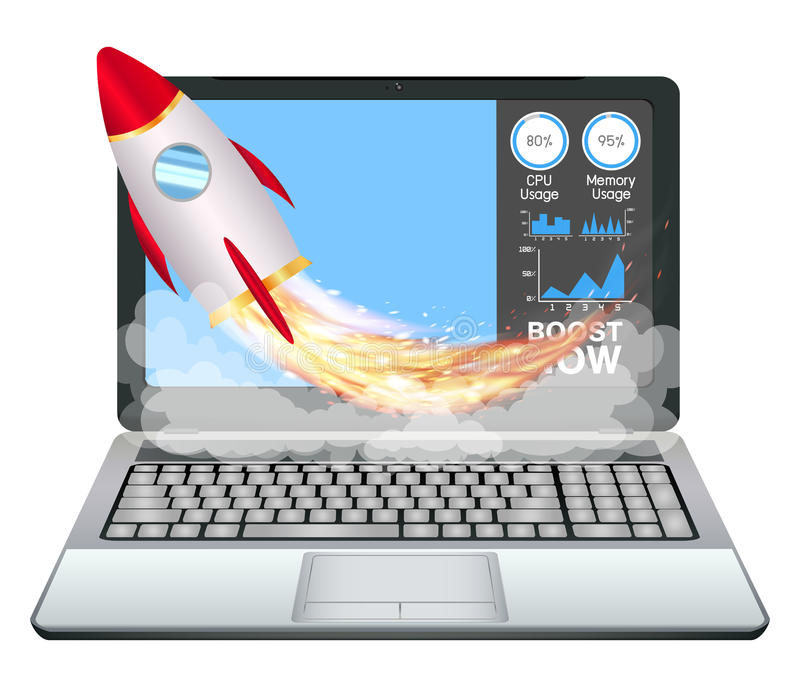 Portátil com o foguete do brinquedo do impulso da aceleração da velocidade ilustração do vetor