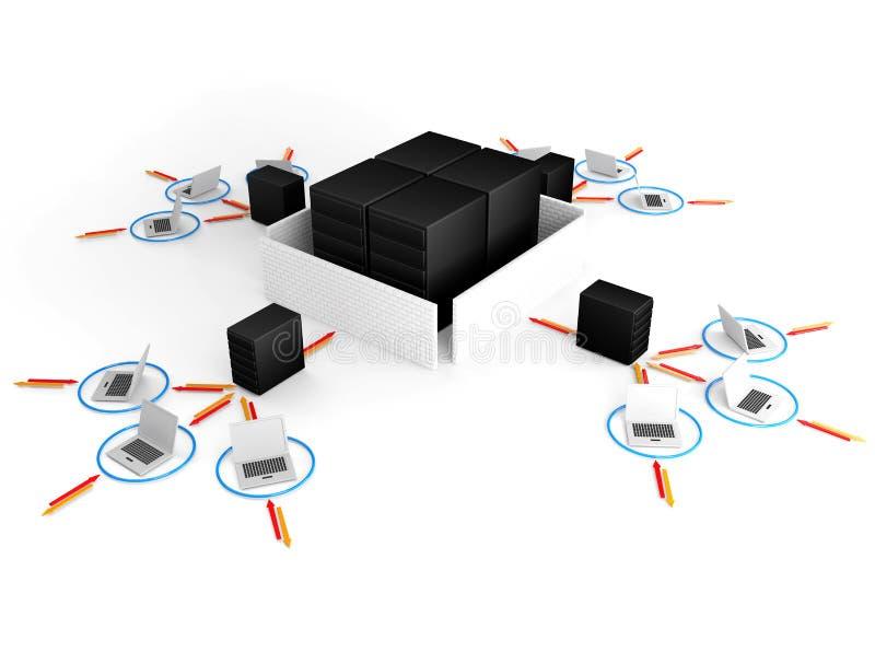Portátil com o guarda-fogo de rede grande do servidor. imagem 3D ilustração do vetor