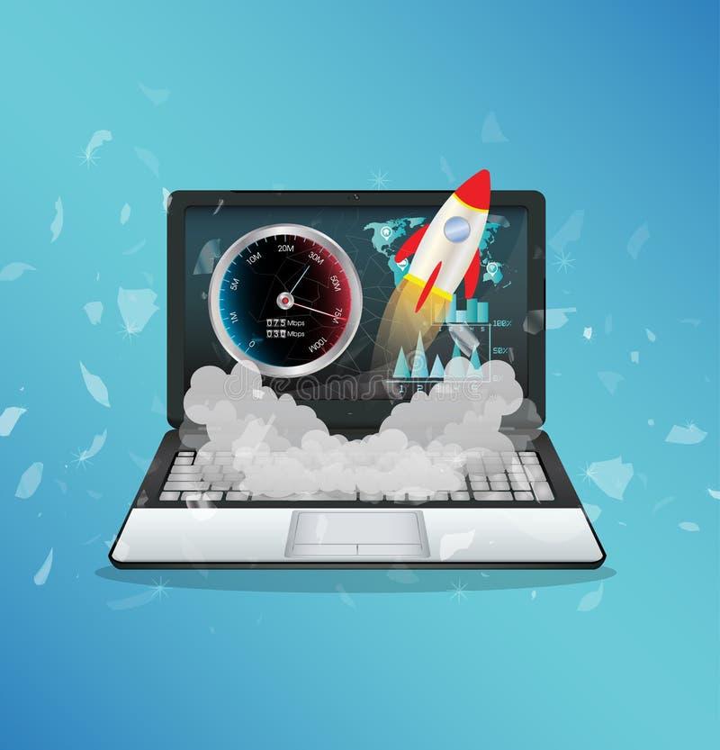 Portátil com olá! Internet da velocidade ilustração do vetor