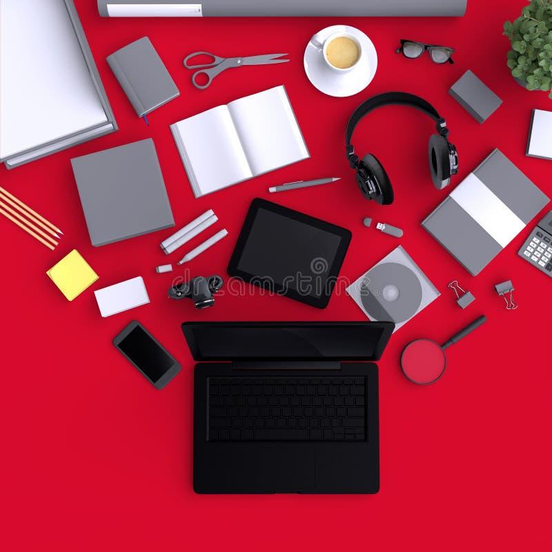 Portátil com os objetos do escritório da placa da variedade organizados para a apresentação da empresa ou a identidade de marcage ilustração royalty free