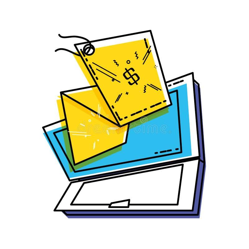 Portátil com suspensão comercial da etiqueta ilustração do vetor