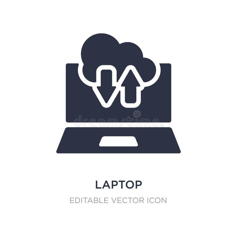 portátil conectado para nublar-se o ícone no fundo branco Ilustração simples do elemento do conceito do computador ilustração stock