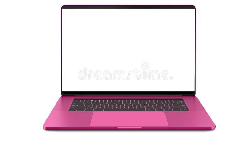 Portátil cor-de-rosa com a tela vazia isolada no fundo branco Todo no foco Altamente detalhado imagens de stock royalty free