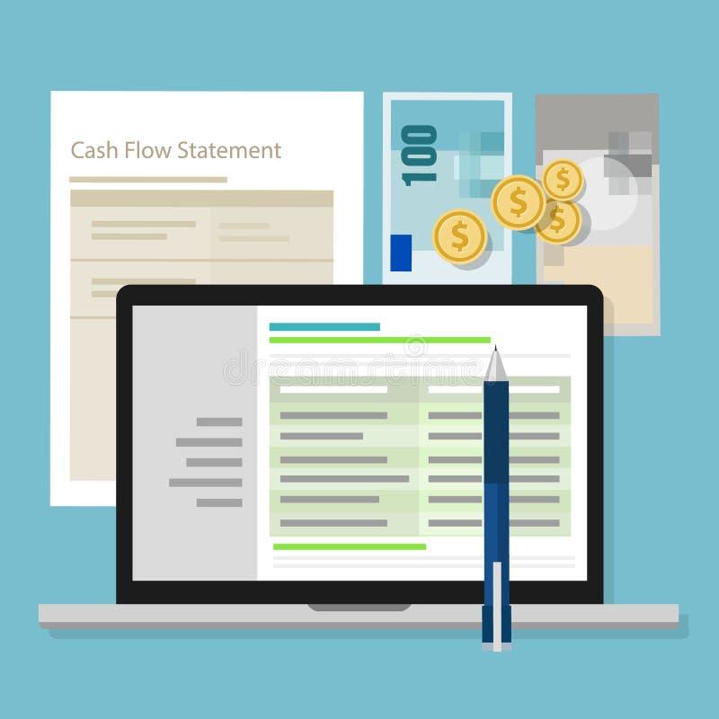 Portátil da aplicação da calculadora do dinheiro do software de contabilidade da indicação do fluxo de caixa ilustração do vetor