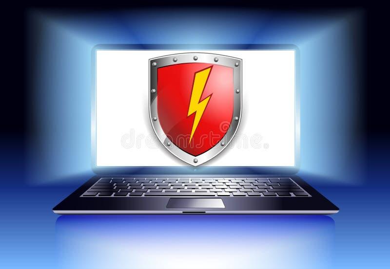 Portátil da segurança da proteção do computador com protetor - secur do Internet ilustração stock