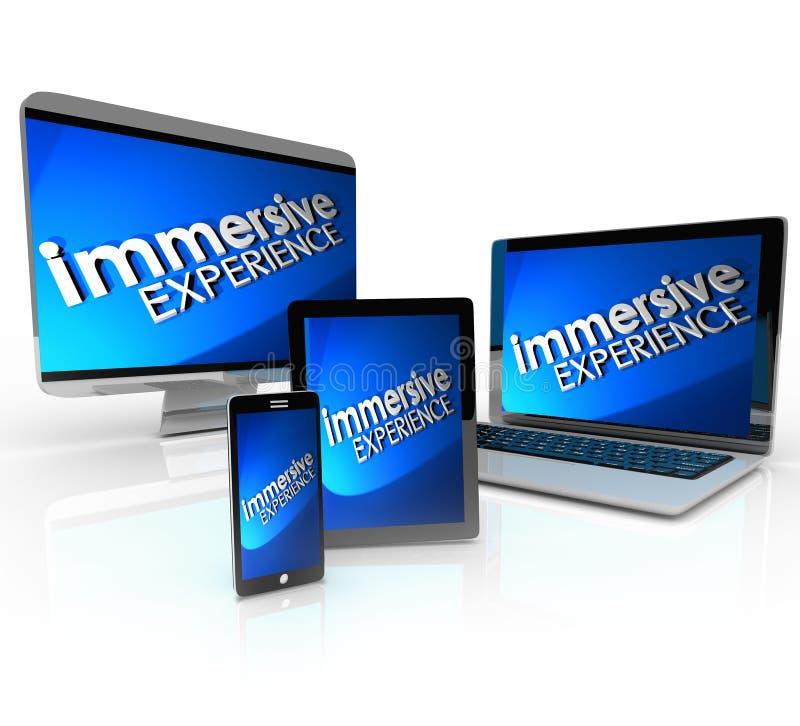 Portátil da tabuleta do telefone dos dispositivos do computador da experiência de Immersive ilustração royalty free