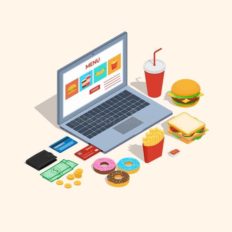 Portátil da tela com ícones da ordem do restaurante do fast food ilustração do vetor