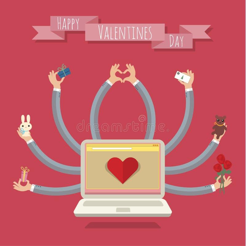 portátil das Muito-mãos Cartão do Valentim ilustração do vetor