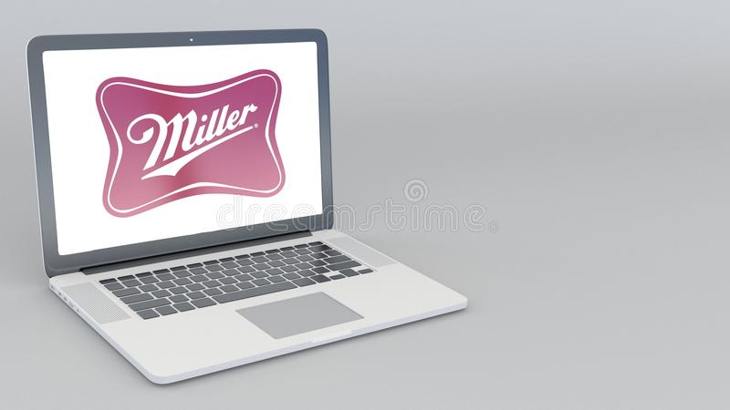 Portátil de abertura e de fechamento com logotipo de Miller Brewing Company rendição 4K 3D editorial ilustração do vetor