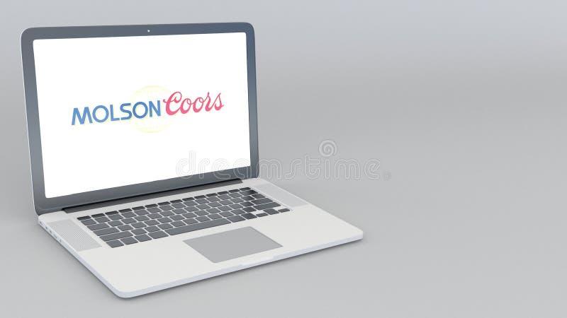 Portátil de abertura e de fechamento com logotipo de Molson Coors Brewing Empresa rendição 4K 3D editorial ilustração do vetor