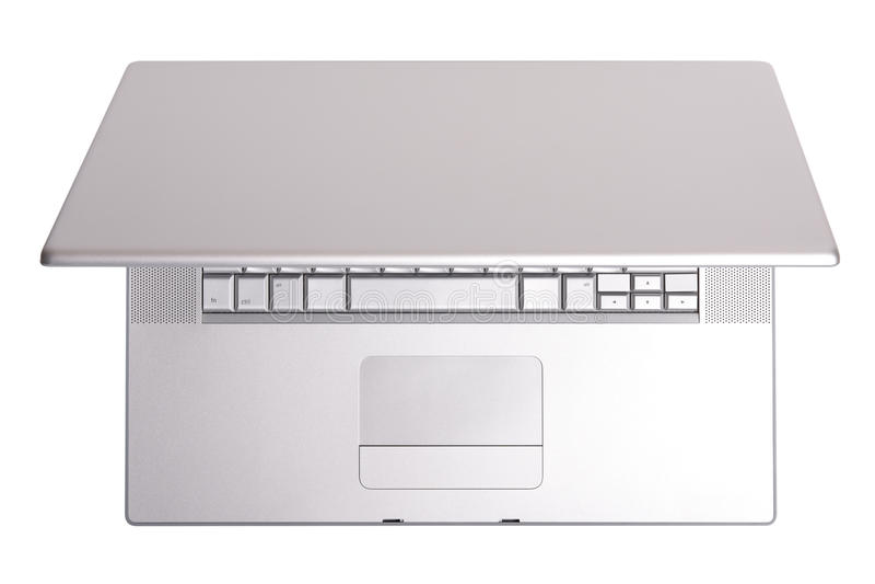 Portátil de alumínio, vista superior. fotografia de stock