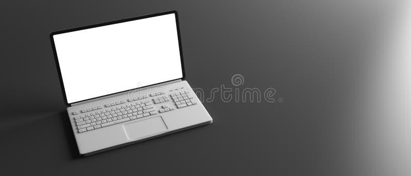 Portátil do computador com a tela branca vazia isolada no fundo preto, bandeira, espaço da cópia ilustração do vetor