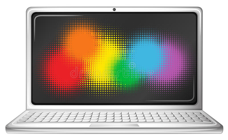 Portátil do computador com tela do arco-íris ilustração stock