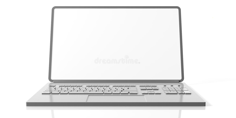 Portátil do computador com a tela vazia isolada no fundo branco, vista dianteira ilustração do vetor