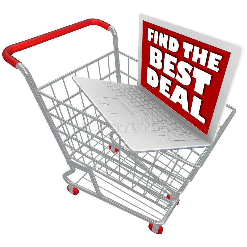 Portátil do computador no carrinho de compras ilustração do vetor