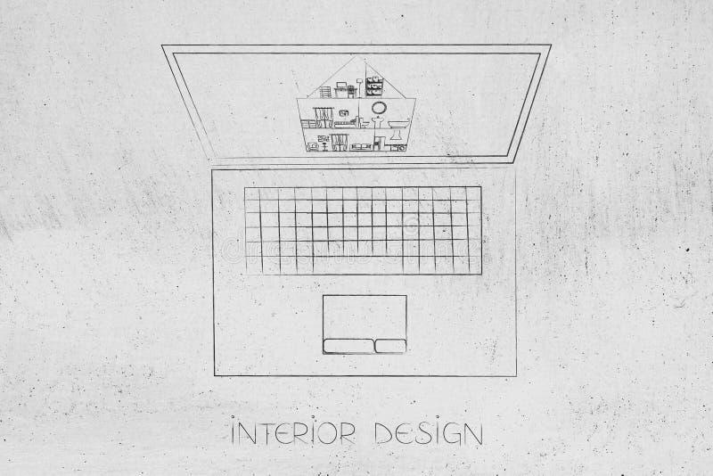Portátil do design de interiores com projeto da casa na tela ilustração do vetor